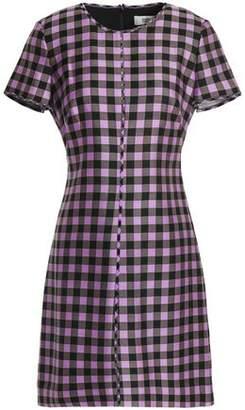 Diane von Furstenberg Gingham Wool And Silk-Blend Twill Mini Dress