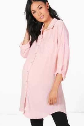boohoo Maternity Eva Oversized Woven Shirt