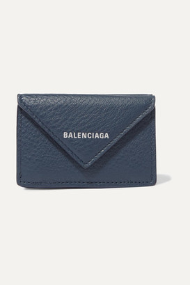 Balenciaga Papier Mini Printed Textured-leather Wallet - Blue