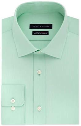 Tommy Hilfiger Men's Athletic Fit Performance Stretch Th Flex Collar Fineline Stripe Dress Shirt
