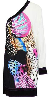 Roberto Cavalli One-Shoulder Printed Stretch-Knit Mini Dress
