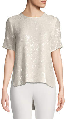 ADAM by Adam Lippes Crewneck Short-Sleeve Sequin T-Shirt w/ Cross-Back