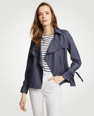 Ann Taylor Petite Chambray Trench Coat