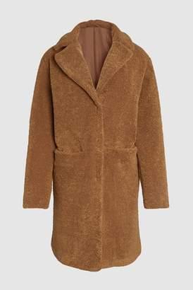 Next Womens Brown Long Teddy Borg Jacket