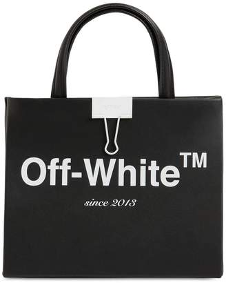 Off-White Mini Printed Logo Leather Top Handle Bag