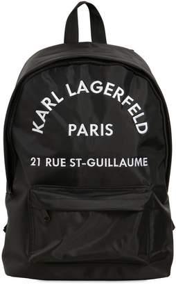 Karl Lagerfeld Logo Embroidered Nylon Backpack