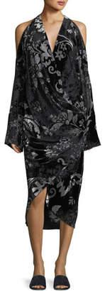 Urban Zen Convertible Velvet Devore Cold-Shoulder Dress