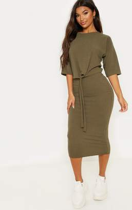 PrettyLittleThing Khaki Rib High Waisted Midi Skirt