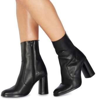Faith Black Leather 'Bonita' High Block Heel Ankle Boots
