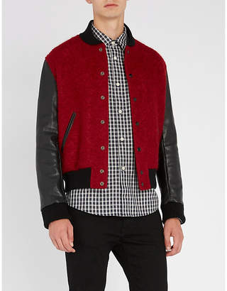 Saint Laurent Two-tone wool and mohair-blend and leather jacket