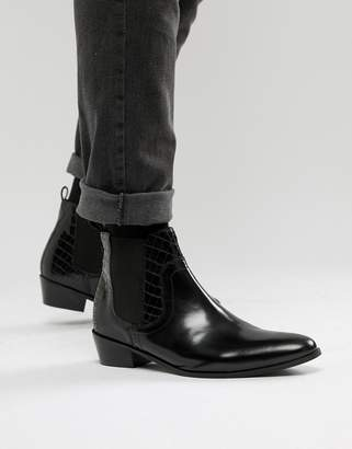House of Hounds House Of Hounds Onyx cuban boots in black leather