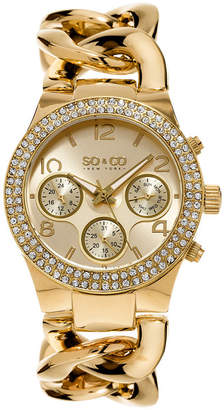 Co SO & NY Womens Soho Gold-Tone Stainless Steel Bracelet Crystal Studded Bezel Dress Quartz Watch J155P13