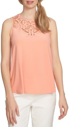 Women's Cece Cutout Embroidery Knit Tank $79 thestylecure.com