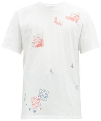 Loewe Sketched Anagram Print Cotton T Shirt - Mens - White