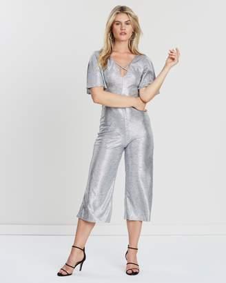 f13a4d218b2f Miss Selfridge Foil Angel Sleeve Culotte Jumpsuit