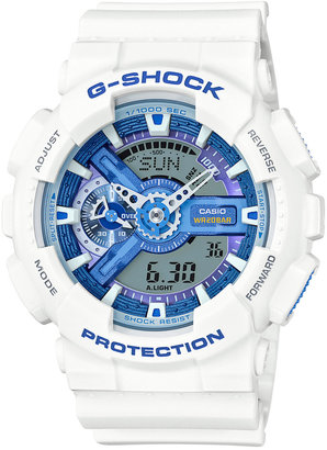 G-Shock Men's Analog-Digital White Resin Strap Watch 55x51mm GA110WB-7A $120 thestylecure.com