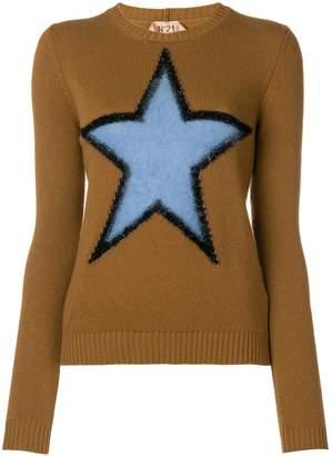 No.21 star intarsia knit jumper