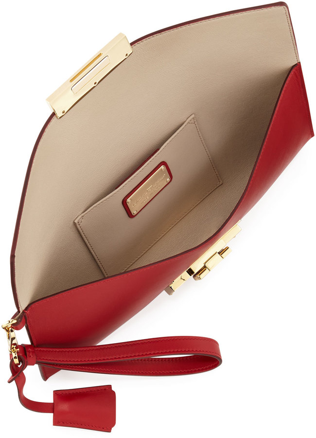 Salvatore Ferragamo Afef Lock Story Wristlet Clutch Bag, Rosso