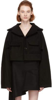Yohji Yamamoto Black Cropped Raglan Jacket