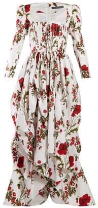 Alexander McQueen Poppy Print Cotton Poplin Gown - Womens - Ivory Multi
