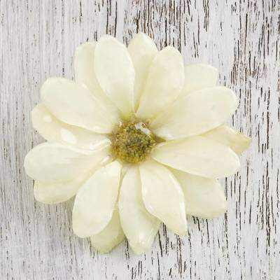 Aster Delight in Cream Resin Dipped Cream Real Chrysanthemum Brooch from Thailand