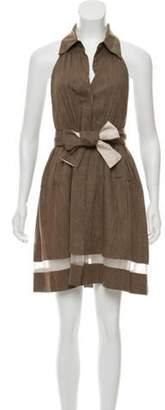 Alice + Olivia Linen Halter Dress Brown Linen Halter Dress