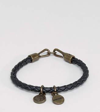 Diesel A-Santy Faux Leather Charm Bracelet In Black