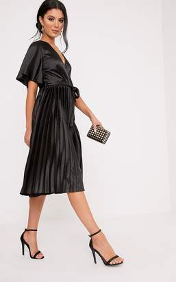 PrettyLittleThing Mairee Black Satin Pleated Midi Dress