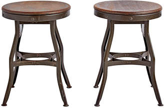 Rejuvenation Pair of Toledo Stools w/ Oak Seats