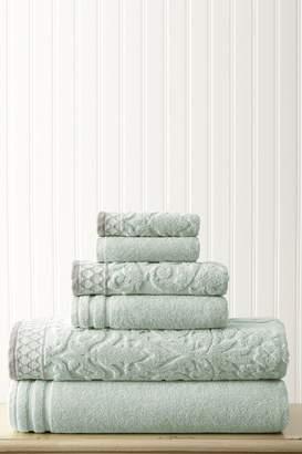 Amrapur Damask Jacquard Embellished Border Towel 6-Piece Set - Light Blue