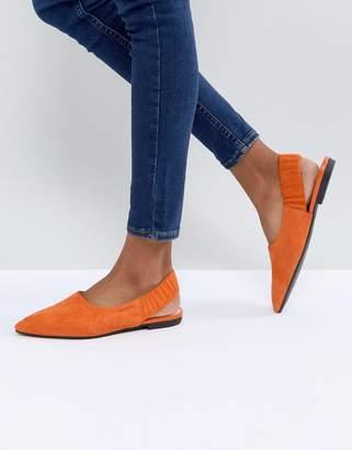 Vagabond Katlin Orange Suede Sling Back Pointed Flat Shoes