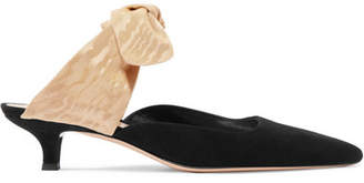 The Row Coco Suede And Moire Mules - Black