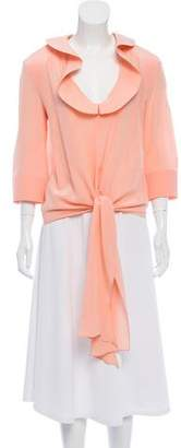 Balenciaga Silk Structured-Collar Blouse