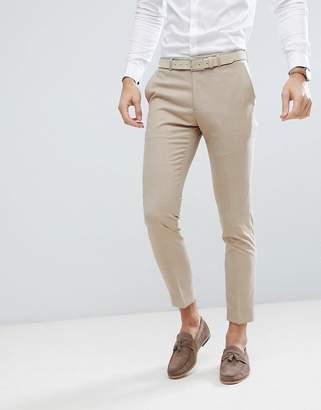 Moss Bros Skinny Wedding Suit Pants In Latte