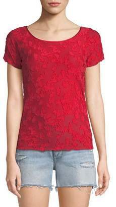 Rag & Bone Lucie Short-Sleeve Burnout Top