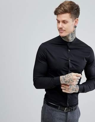 Asos Design DESIGN skinny shirt in black with grandad collar