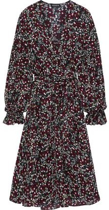 Nicholas Mini Daisy Wrap-effect Floral-print Silk Dress