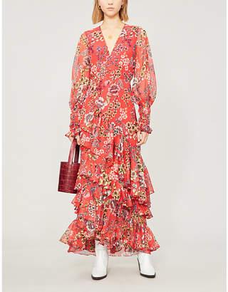 Alexis Ruffle-trimmed floral-print maxi wrap dress