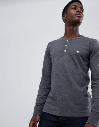 Abercrombie & Fitch icon logo long sleeve henley top in dark gray marl