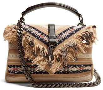 Saint Laurent Medium College Fringed Cross Body Bag - Womens - Beige Multi
