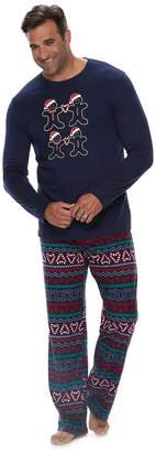 Big & Tall Jammies For Your Families Gingerbread Man Holiday Top & Fairisle Microfleece Bottoms Pajama Set