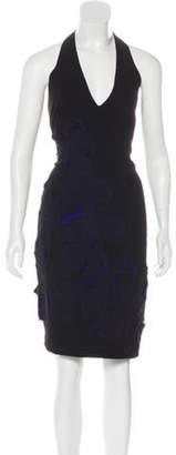 Halston Floral Embroidered Halter Dress Black Floral Embroidered Halter Dress