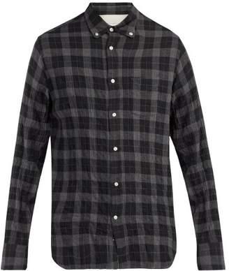 Officine Générale - Checked Cotton Blend Shirt - Mens - Dark Grey