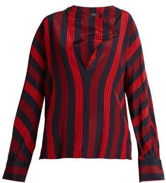 Joseph Leigh Striped Silk Blouse - Womens - Red Stripe