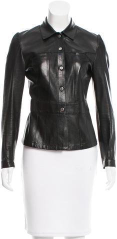 pradaPrada Leather Button Up Jacket