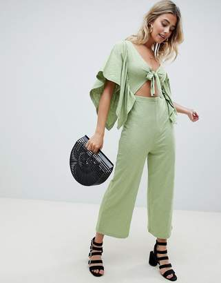 Asos Design DESIGN kimono jumpsuit with cut out and tie front in slub jersey