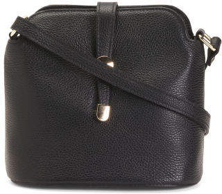 Made In Italy Leather Small Dome Top Crossbody