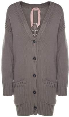 N°21 N.21 Logo-intarsia Ribbed-knit Oversized Cardigan Sweater
