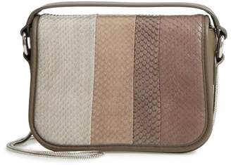 AllSaints Ikuya Leather & Genuine Snakeskin Clutch