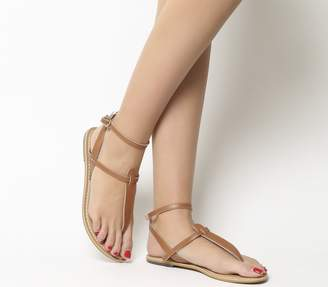 e24140146211 Office Salsa Ankle Strap Toe Post Sandals Tan Leather